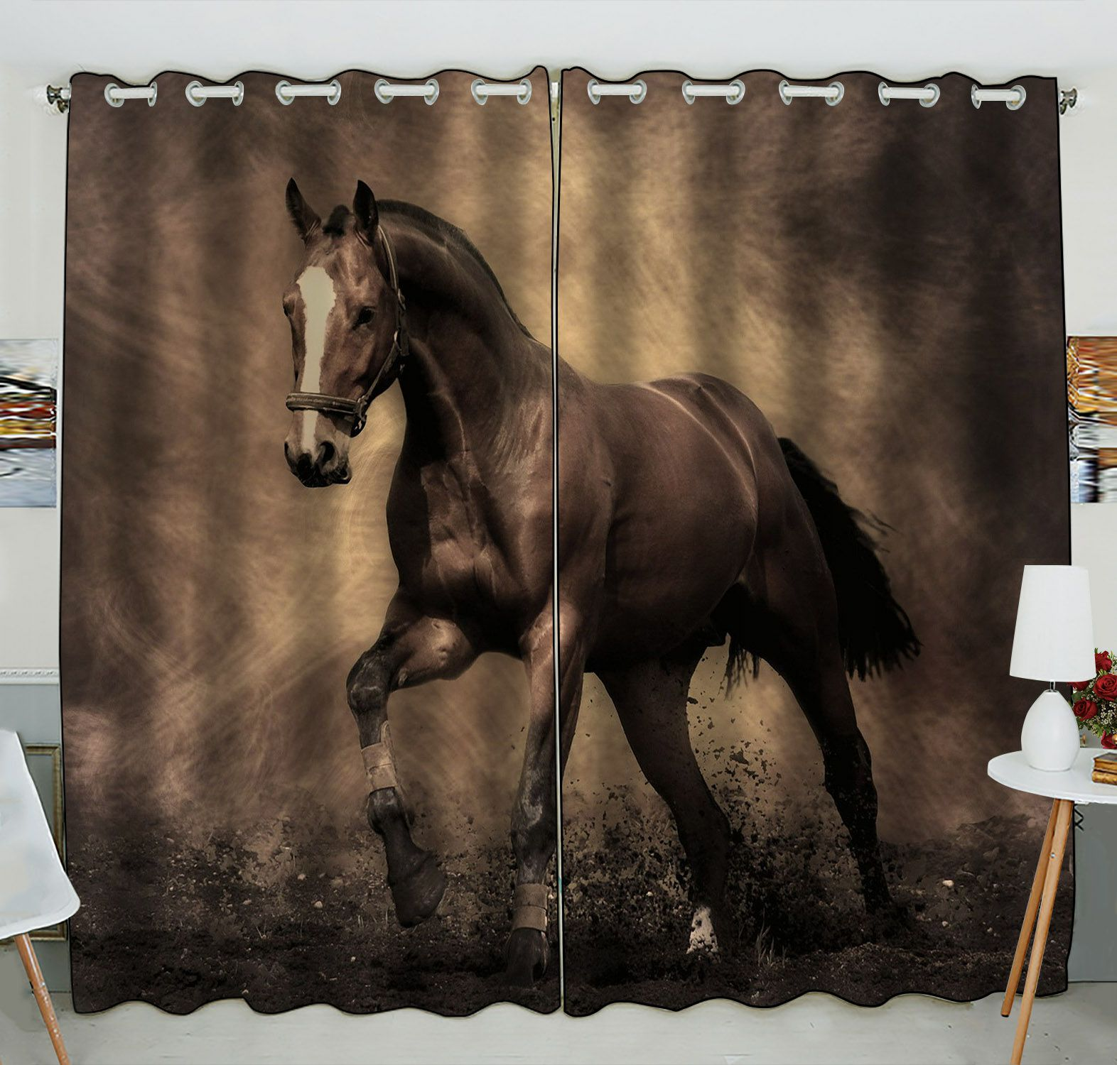 ZKGK Running Horse Window Curtain Drapery/Panels/Treatment For Living Room Bedroom Kids Rooms 52x84 inches Two Panel