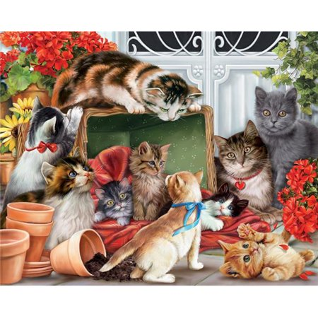 Vermont Christmas Company Garden Cats - 1000 Piece Jigsaw Puzzle (Cat Jigsaw Puzzle)