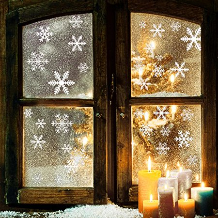 81-Piece Snowflake Window Clings, Self-Static Non Adhesive Snowflake Decals Snowflake Stickers for Christmas Decorations Snowflake Window Ornaments - Window Decoration
