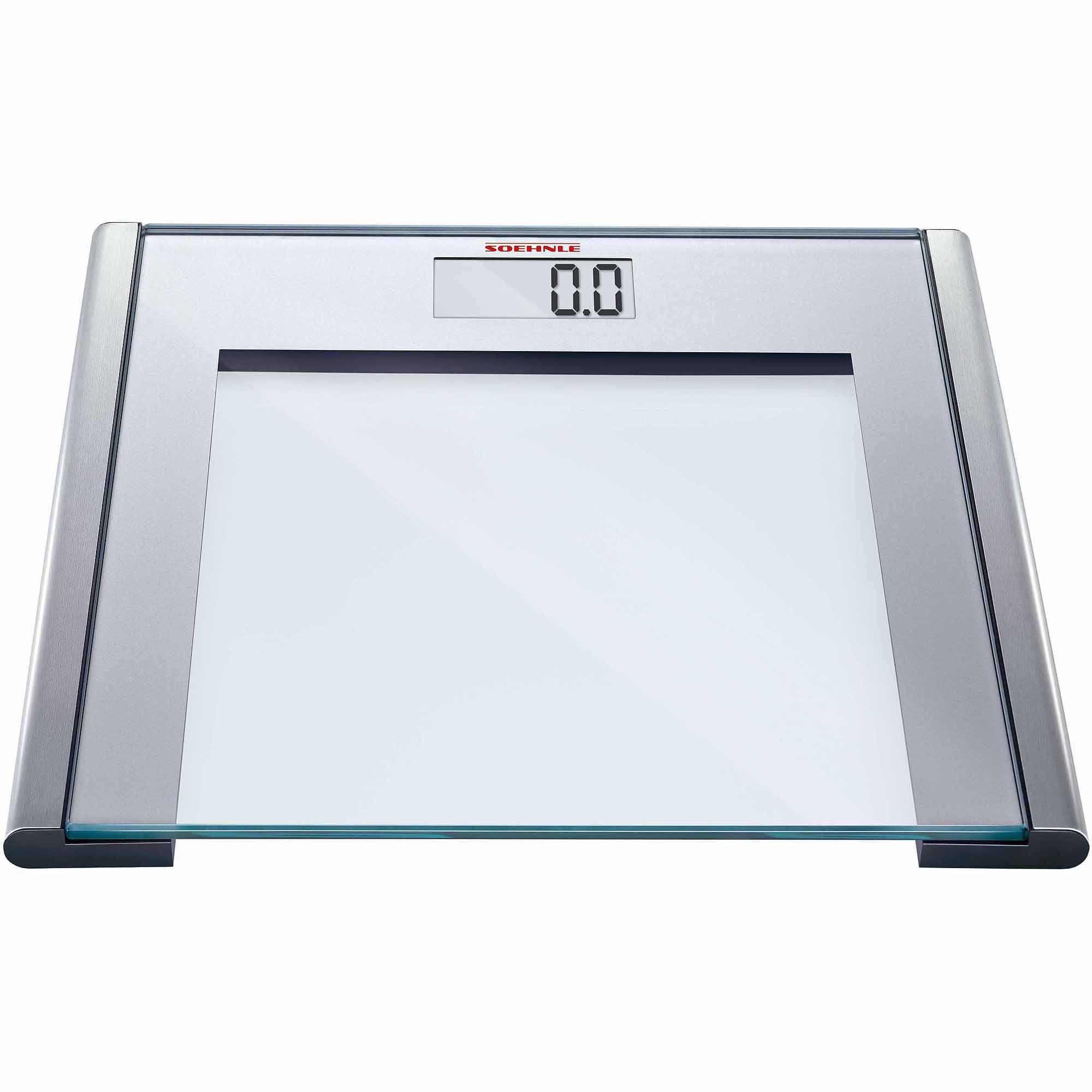 Soehnle SILVER SENSE Precision Digital Bathroom Scale, 330 lb Capacity, Safety Glass/Silver