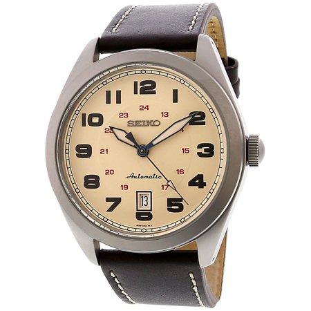 - Seiko Men's Sports SRPC87K Silver Leather Automatic Dress Watch