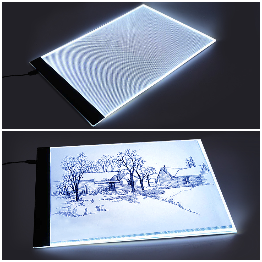 1pc A4 Led Art Stencil Board Light Pad Tracing Drawing Table Board