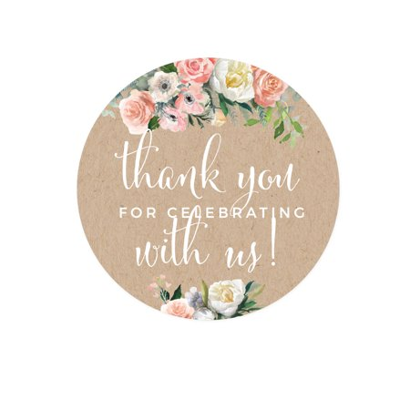 Peach Coral Kraft Brown Rustic Floral Garden Party Wedding, Circle Label Stickers, Thank You for Celebrating, 40-Pack - Thank You Decorations