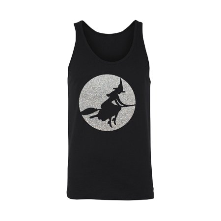 Full Moon Witch Sillouette Men's Tank Top Halloween (Dark Side Of The Moon Tank Top)