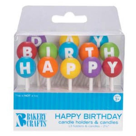 oasis supply happy birthday letter candle holders with candles 25 inch