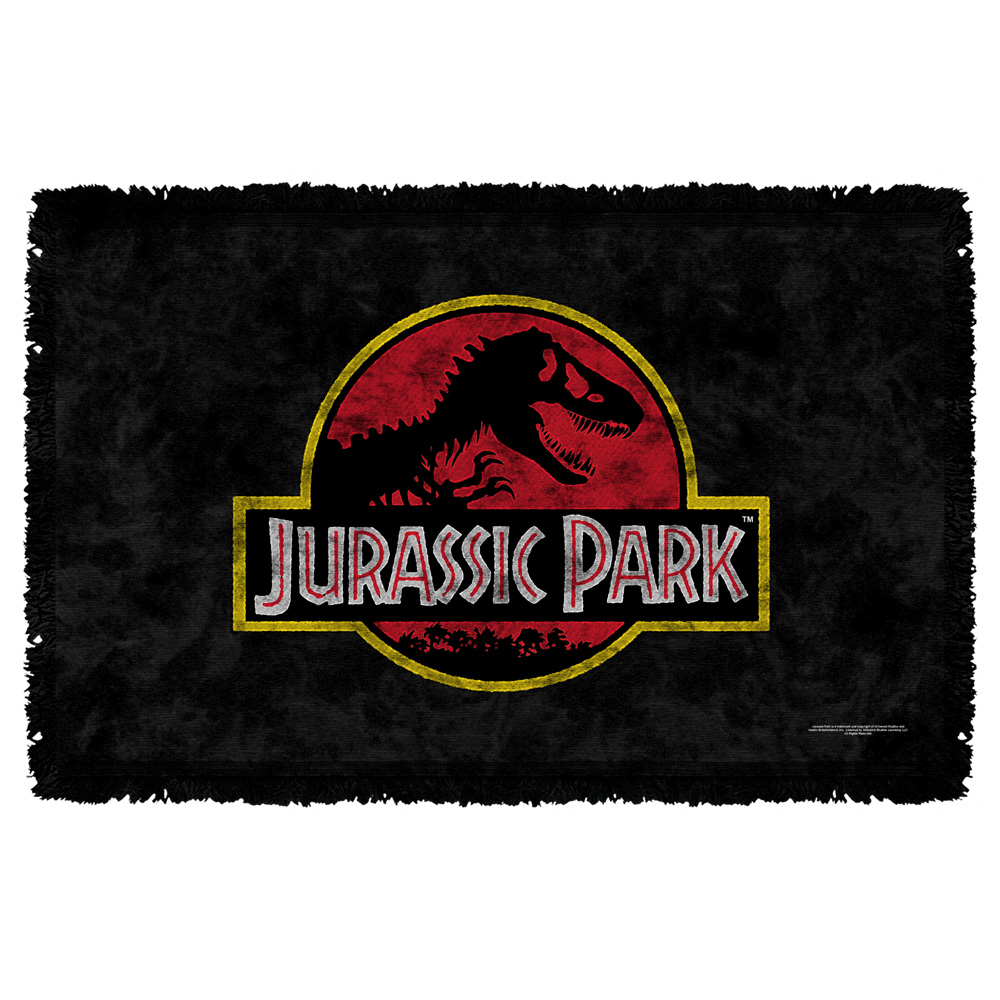 Jurassic Park Classic Logo Woven Throw Blanket White One Size