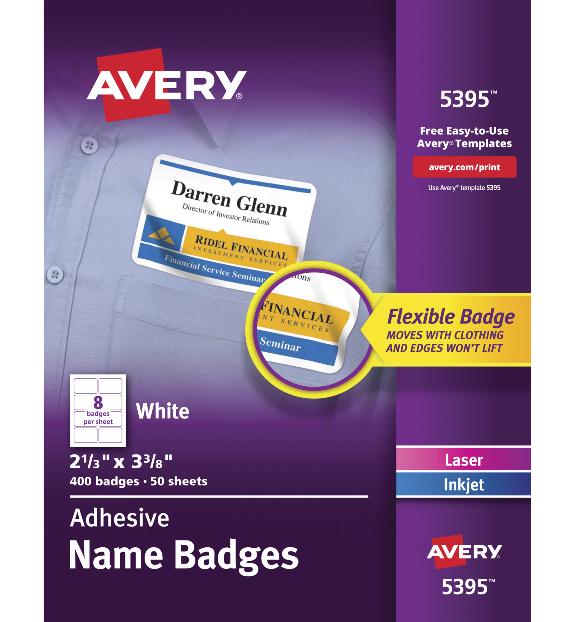 Avery 5395 Adhesive Name Badge Labels, Rectangular, White, Box of 400 by Avery Products Corp