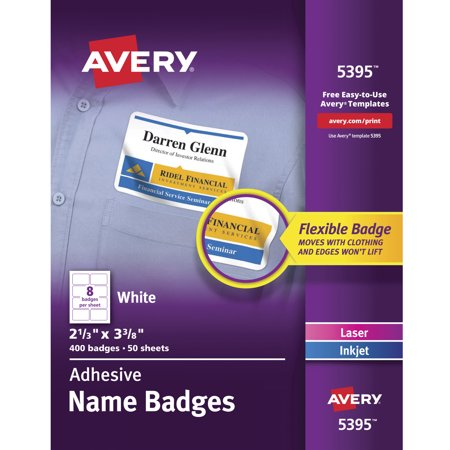 Avery 5395 Adhesive Name Badge Labels Rectangular White Box Of