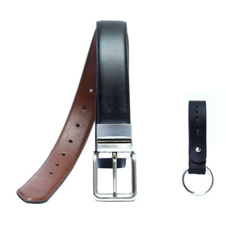 George Men's 35MM Wide Reversible Stretch Belt and Key Fob Gift Set
