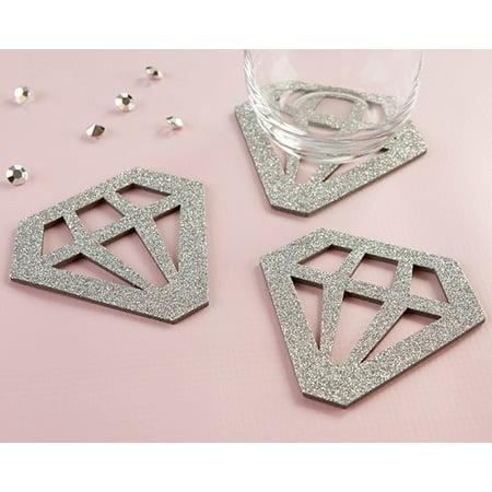 Silver Glitter Diamond Shaped Coasters (Set of 4)