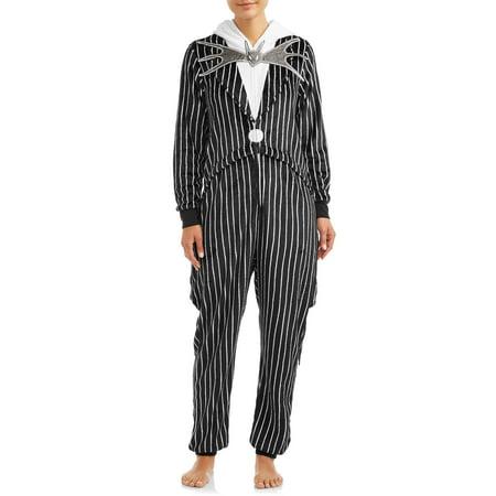 Disney Women's and Women's Plus Jack Skellington Unionsuit (Disney Womens Pajamas)