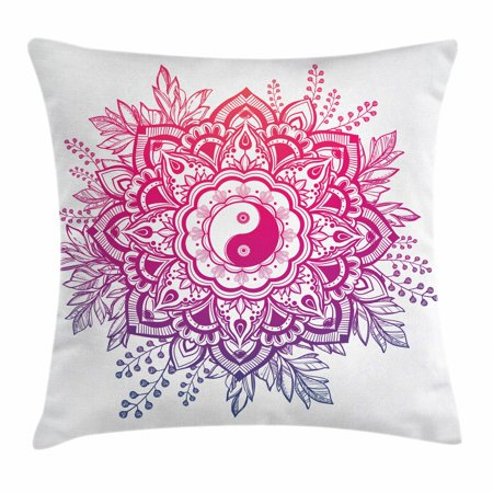 Mandala Throw Pillow Cushion Cover, Yin and Yang Sacred Lotus Mystic Zen Themed Chinese Crown of Leaves Motif, Decorative Square Accent Pillow Case, 20 X 20 Inches, Violet Magenta Pink, by Ambesonne