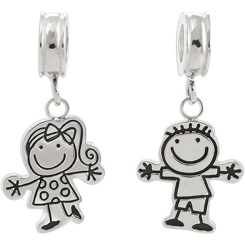Connections from Hallmark Stainless Steel Boy and Girl Dangle Charm Set