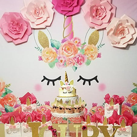 7x5ft Unicorn Themed Birthday Party Banner Photo Backdrop Background Watercolor Floral Rose Magical Gold Glitter Stars Baby Shower Dessert Table