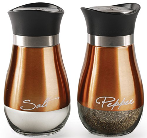 Palais Glassware Loire Collection, Elegant Designed (Salt and Pepper Shakers - Set of 2, Copper and Glass)