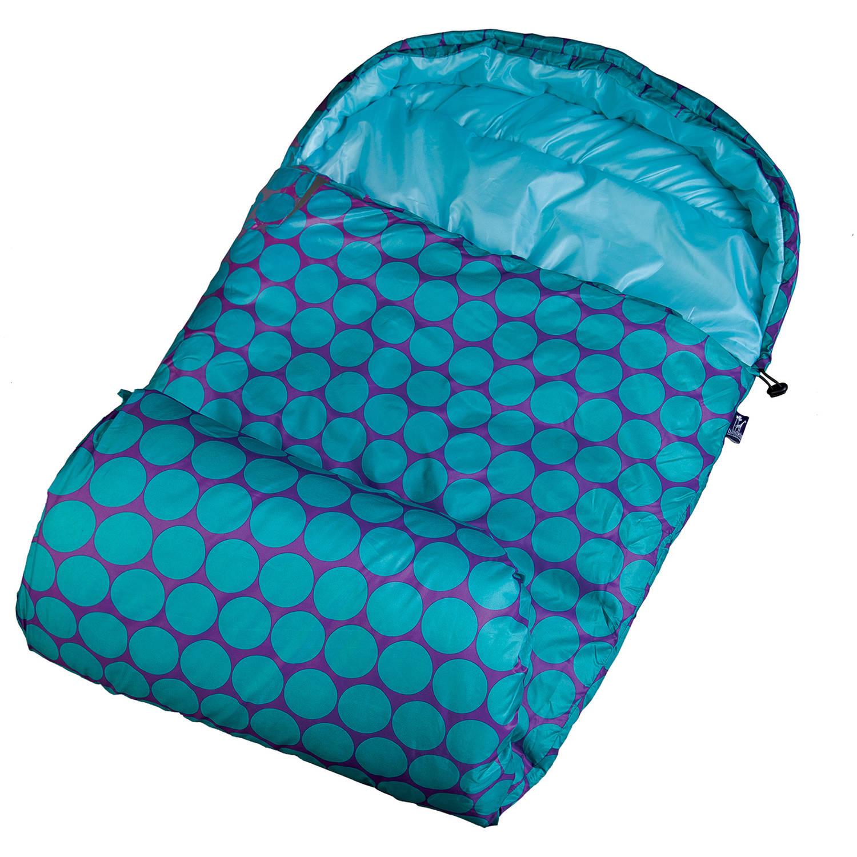 Wildkin Stay Warm 30-Degree Kids' Sleeping Bag, Big Dot Aqua
