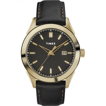 - Timex Men's Torrington Men's Date 40mm Leather Strap |Black| Watch TW2R90400