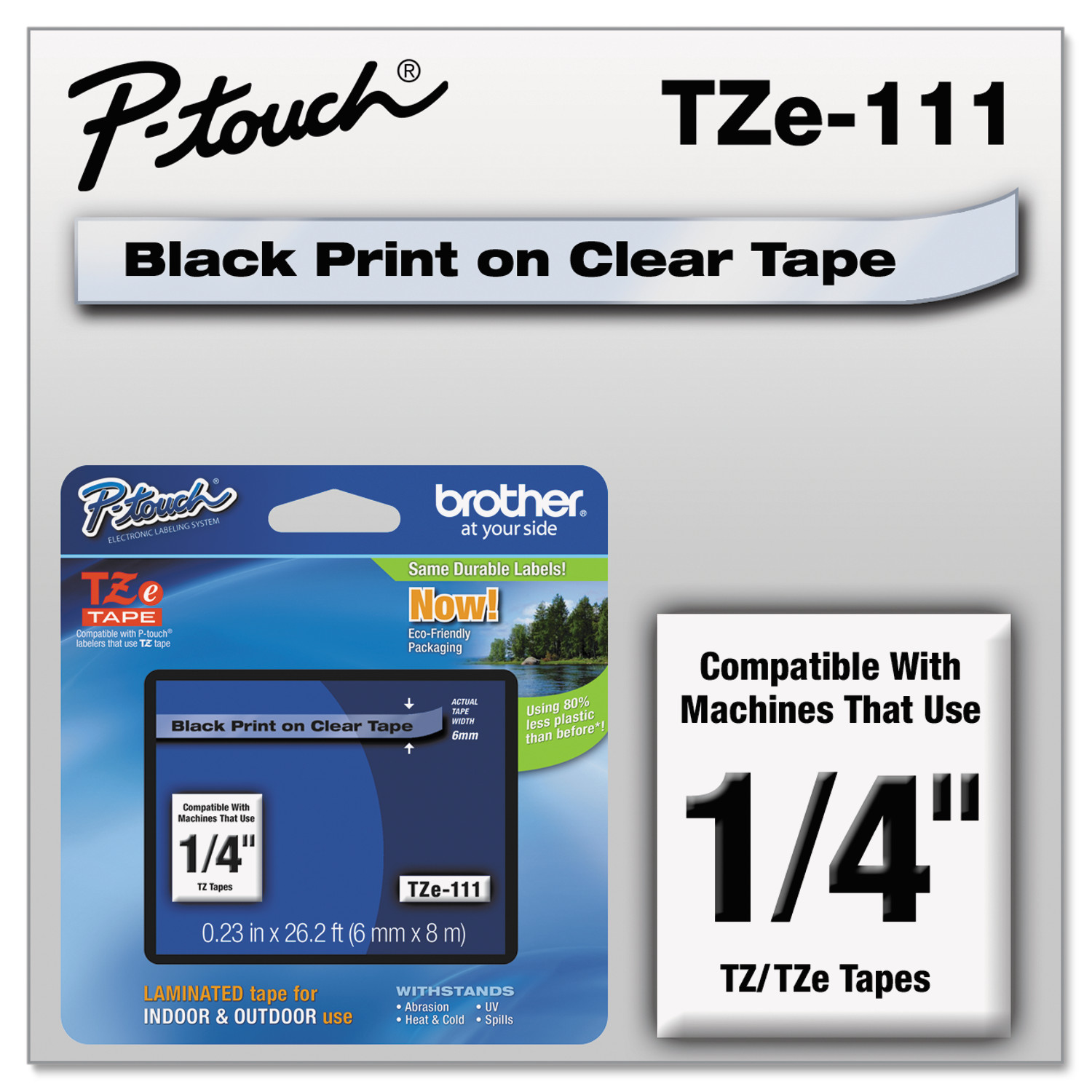 "Brother P-Touch TZe Standard Adhesive Laminated Labeling Tape, 1/4""w, Black on Clear"