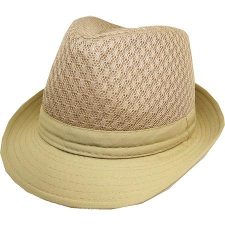 073b74531 Stylish Cool Beehive Summer Mesh Cotton Brim Mens Fedora Hat [Beige - 57 cm  (S/M)]
