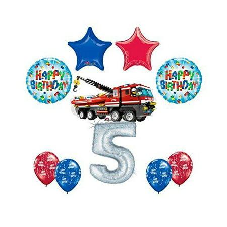 Party City Yakima (10 pc LEGO CITY Fire Engine Firetruck 5th Birthday Party Balloon Kit)
