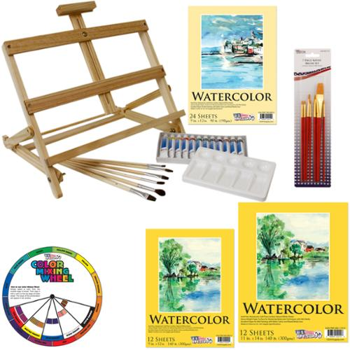 US Art Supply�� 31-Piece Watercolor Painting Table Easel Set with, 12-Tubes Watercolor Colors 3 Assorted Watercolor Paper