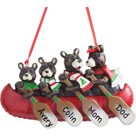 Beans Christmas Ornament (Personalized Bear Family Canoe Christmas Ornament, Available Up To - 6 Names)