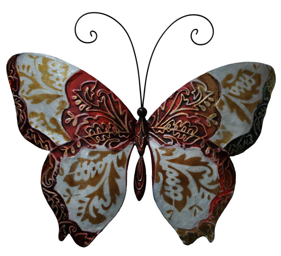 Wall Butterfly in Pearl and Red