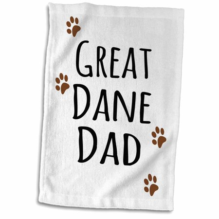 Dog Breed Hand Towels (3dRose Great Dane Dog Dad - Doggie by breed - brown muddy paw prints - doggy lover proud pet owner love - Towel, 15 by)