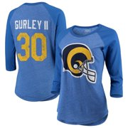 Todd Gurley II Los Angeles Rams Majestic Threads Women's Player Name & Number Raglan Tri-Blend 3/4-Sleeve T-Shirt -