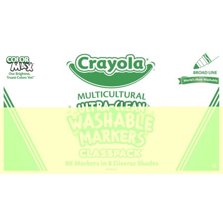 Crayola Broad Line Ultra Clean Washable Multicultural Markers Classpack   80 Count In 8 Colors