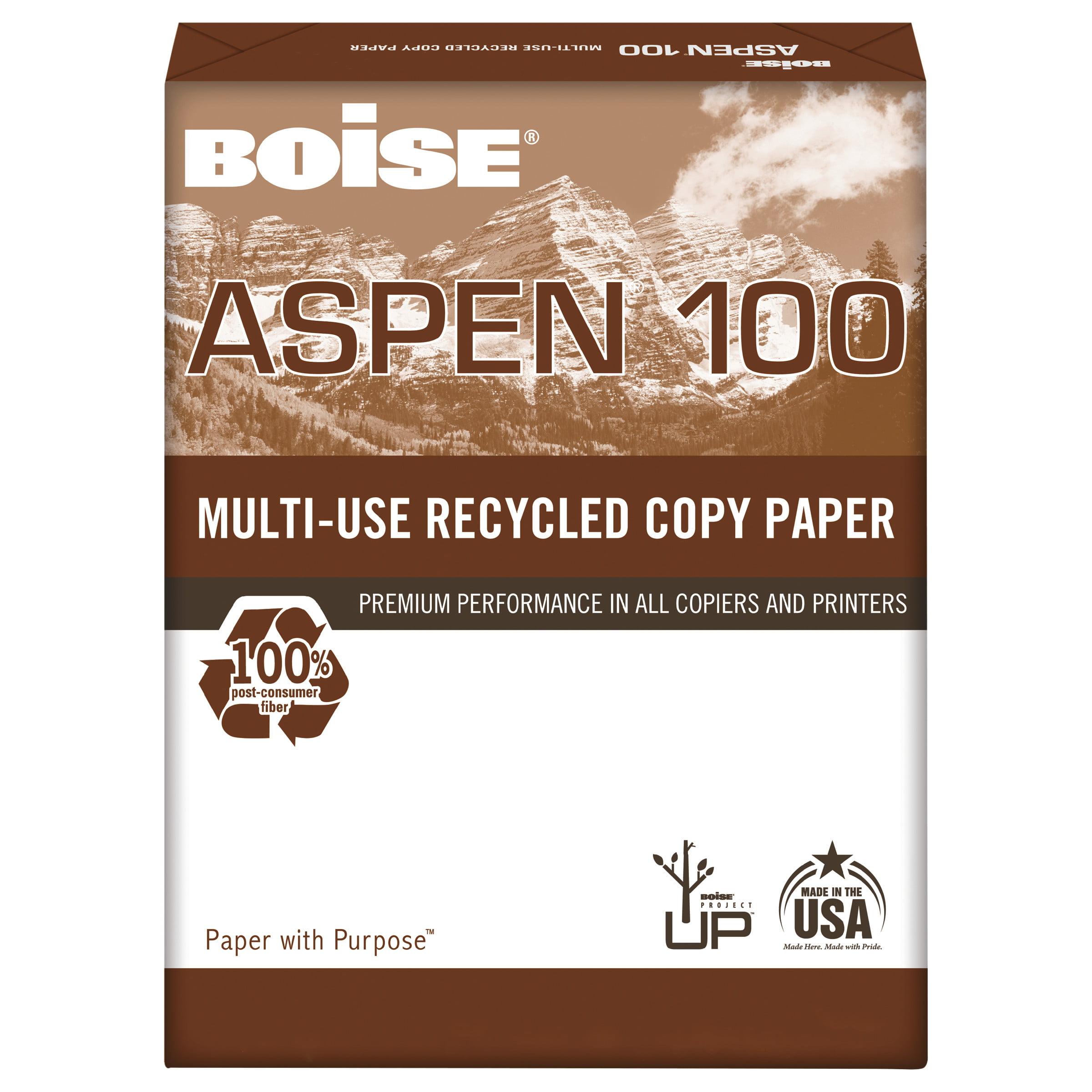 Boise ASPEN 100% Multi-Use Recycled Paper, 92 Bright, 20lb, 8-1/2 x 11, White