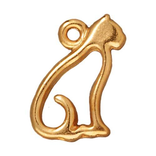 22K Gold Plated Pewter Cat Silhouette Charm 15mm (1)