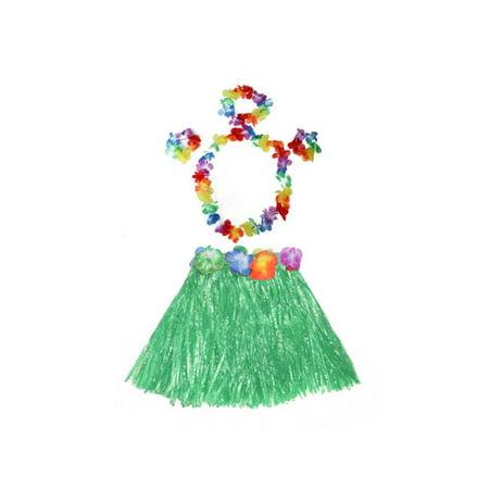 0cae15c2b1cf Hawaiian Hula Dance Grass Skirt Lei Headband Wristband Fancy Dress Costume  & Flower Bracelets & Headband & Necklace Set - Walmart.com
