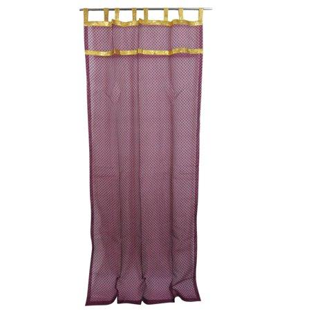 Mogul 2 Curtains Sheer Self Design Purple Golden Tabs Window Treatment 48  X96