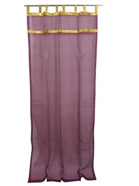 "Mogul 2 Curtains Sheer Self Design Purple Golden Tabs Window Treatment 48""x96"""