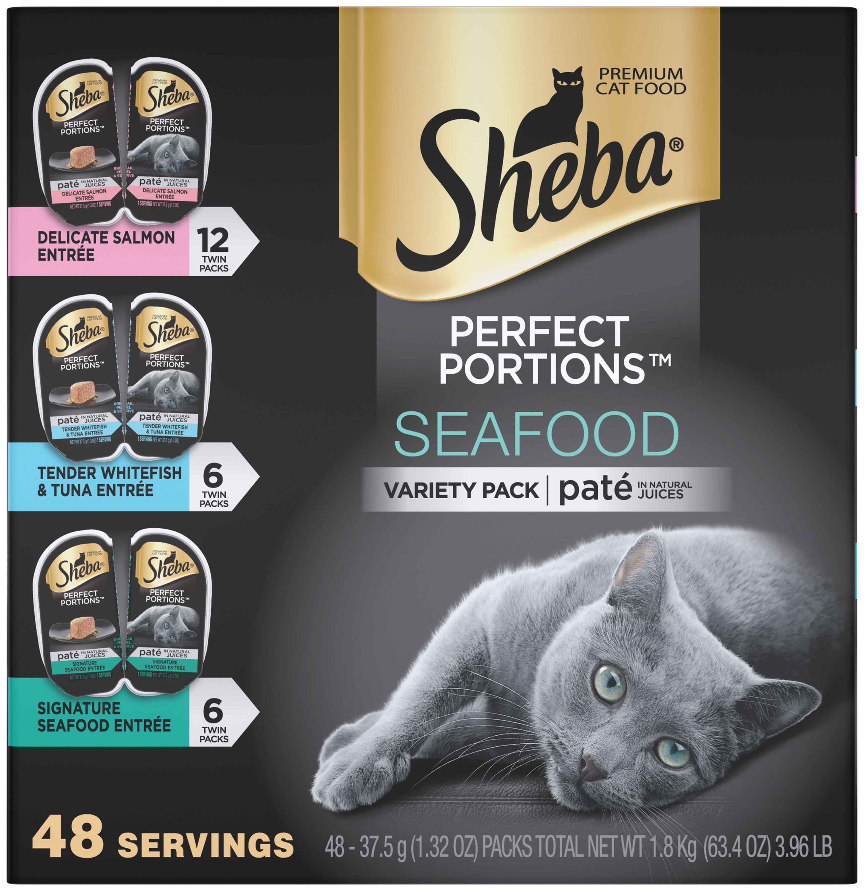 Sheba Perfect Portions Seafood Pate Multipack Signature Seafood Entree, Delicate Salmon Entree, And Tender Whitefish & Tuna Entree Wet Cat Food 2.6 Oz. (24 Twin Packs = 48 Servings)