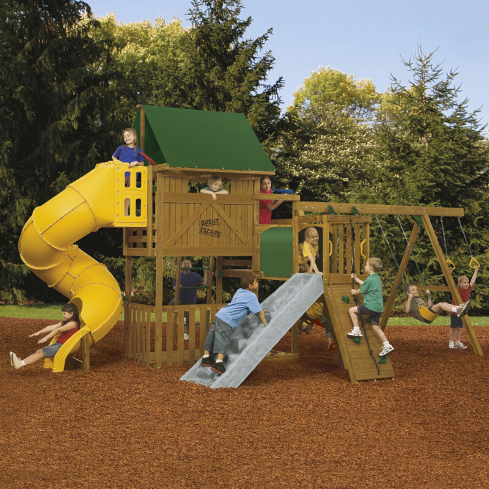 PlayStar Playsets Ready To Assemble Great Escape Gold Swing Set