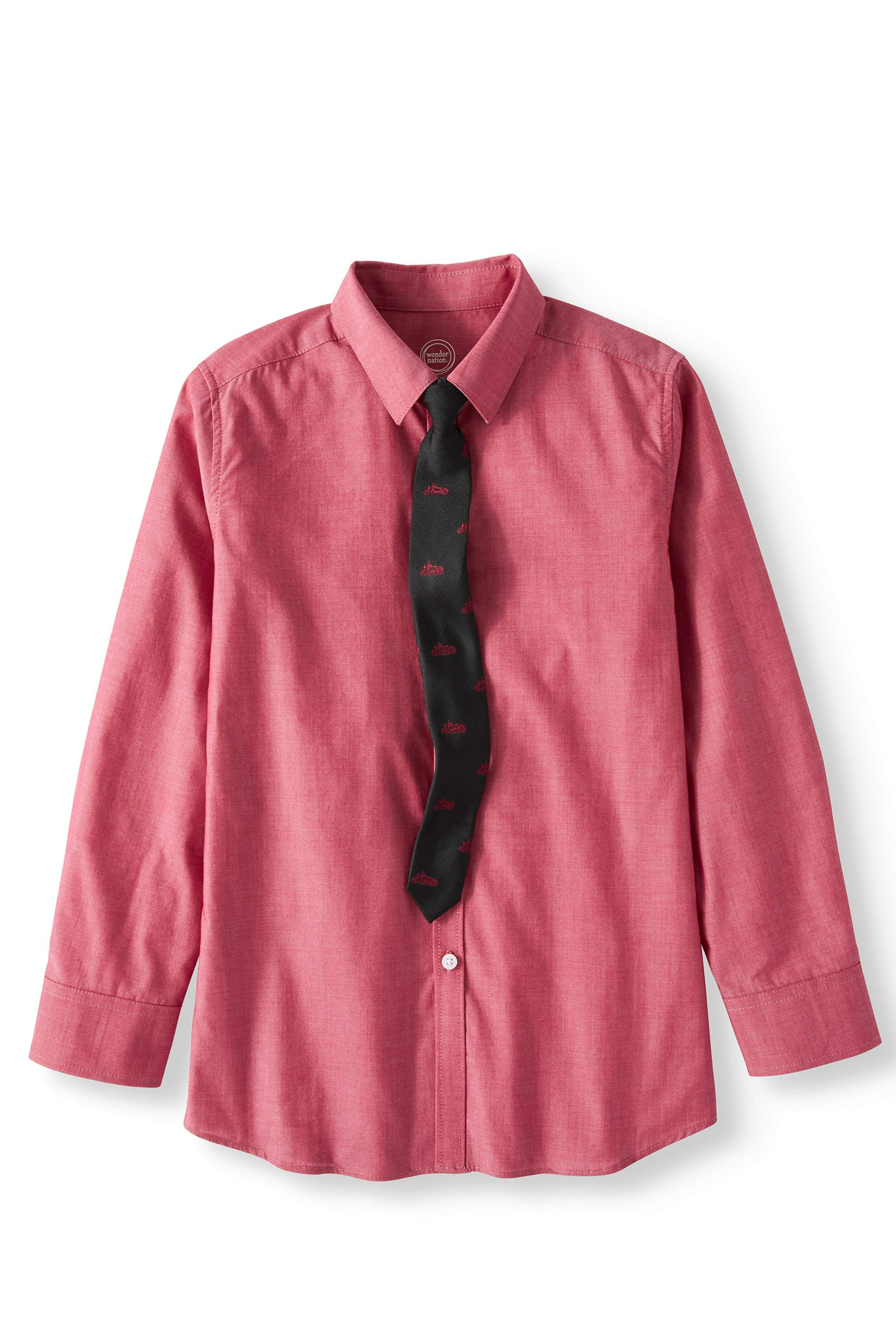 Wonder Nation Boy's Iridescent Yarn Dye Long Sleeve Dress Shirt and Tie, 2-Piece Set