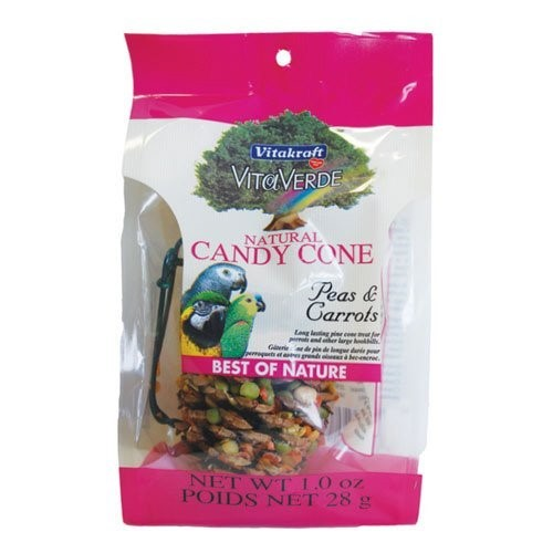 Vitakraft VitaVerde Candy Cone Peas & Carrots Dry Parrot/Large Hookbill Treat, 1 Oz