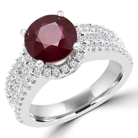 3 3/8 CTW Round Red Ruby Halo Cocktail Ring in 14K White Gold (MD180153) - image 2 de 2