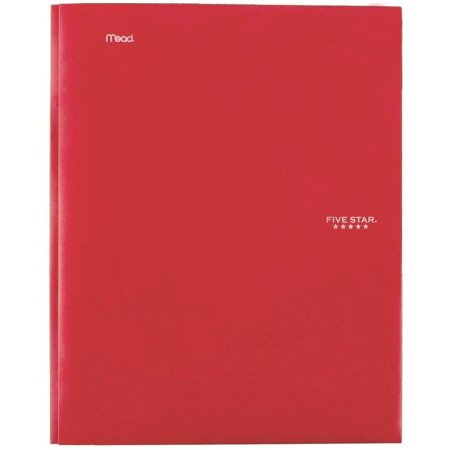 Five Star Stay-Put Pocket & Prong Folder, Red (34605) (Poly 3 Prong 2 Pocket Folders)