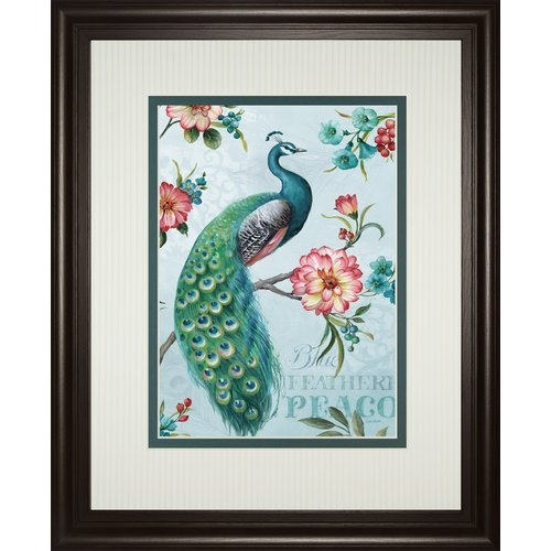 Classy Art Wholesalers Blue Feather Peacock by Lisa Audit Framed Graphic Art by Classy Art Wholesalers