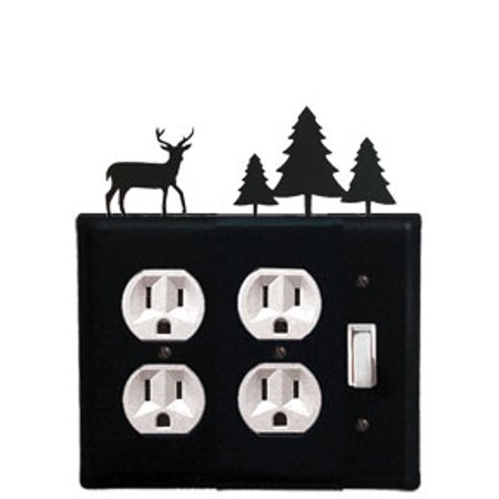 Deer & Pine Trees - Double Outlet and Single Switch Cover