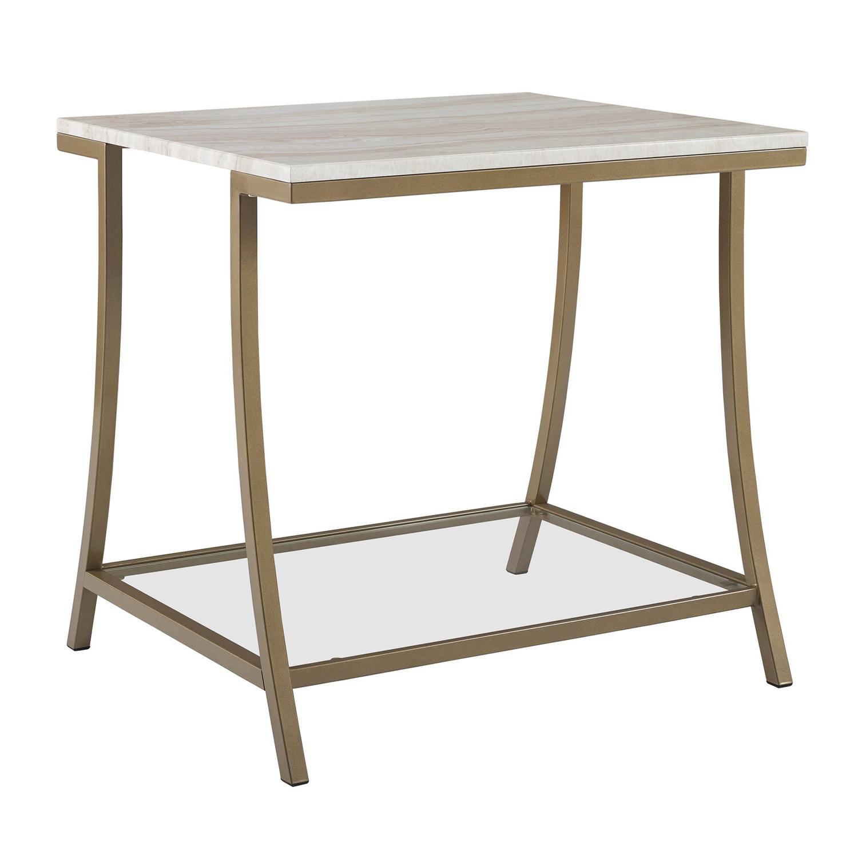 Novogratz Cecilla Side Table, Soft Brass, Faux Marble