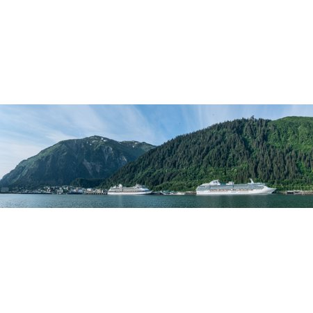 Cruise ship docked at a port with mountain the background Juneau Southeast Alaska Alaska USA Poster Print by Panoramic