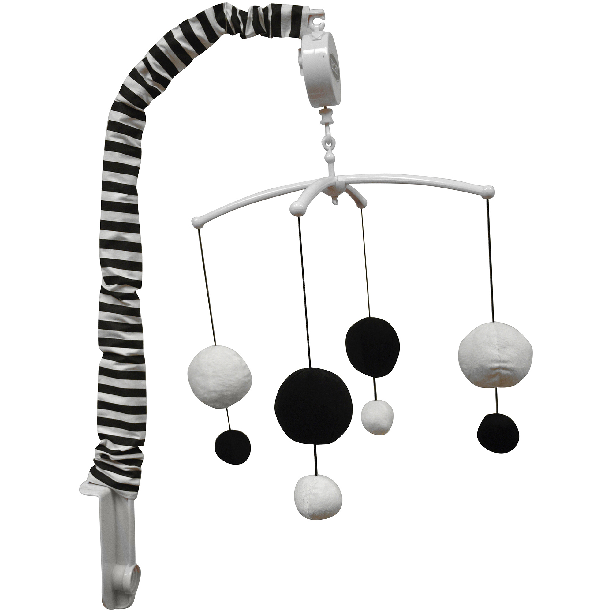 Bacati - Dots/Pin Stripes Musical Mobile with Hanging Toys, Black/White