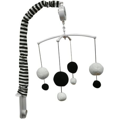 Bacati   Dots Pin Stripes Musical Mobile With Hanging Toys  Black White