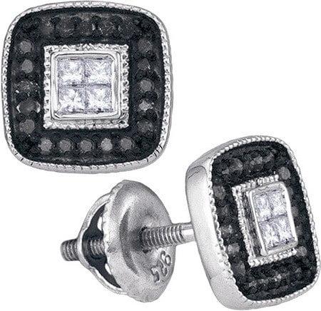 10K White Gold 0.33ctw Decorated Shiny Black Diamond Micro Pave Cushion Earring