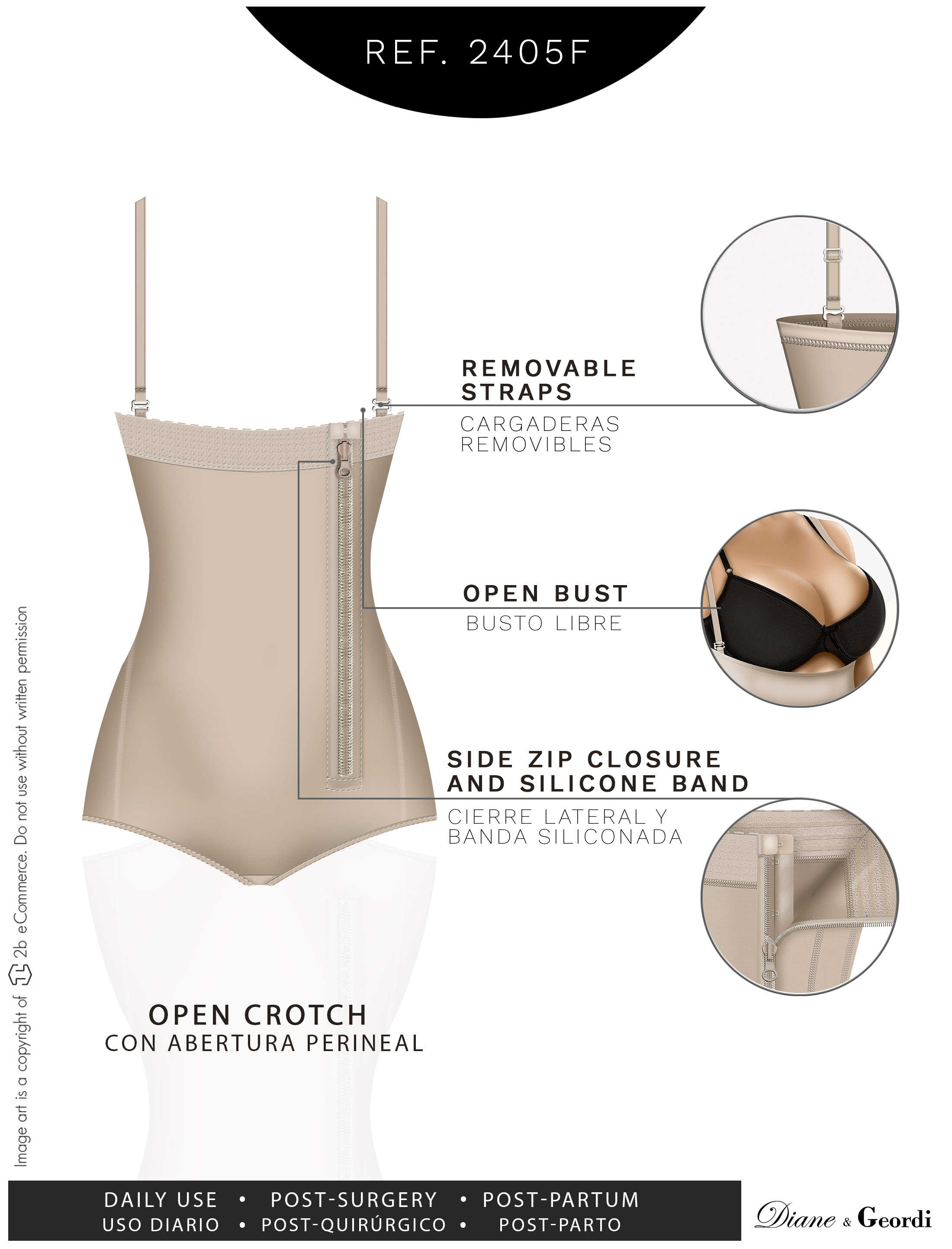 f6c258352e7 Diane   Geordi - Diane   Geordi 2405F Strapless Waist Shaper For Women  Fajas Colombianas - Walmart.com