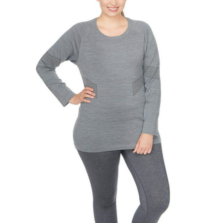 Active Power Control - Under Control Women's Plus Super Soft Lux Seamless Active Round Neck Marl Top